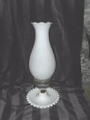 Vintage White Milk Glass Lamp w/White Glass Shade