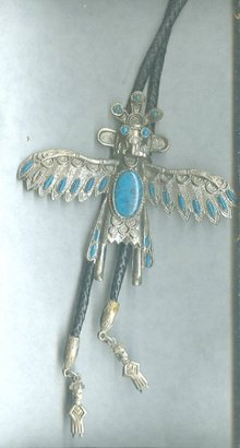 Vintage Native American Thunderbird & Turquoise Bolo Tie