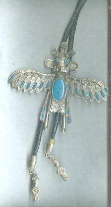 Vintage Native American Thunderbird & Turquoise Bolo Tie