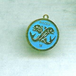 Vintage Sterling & Enamel Pisces Charm or Pendant