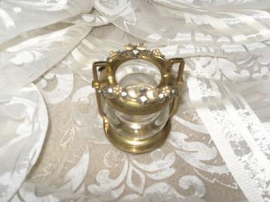 Vintage Jeweled Glass Toothpick Holder  **LOOK**