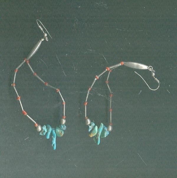 Sterling Silver & Turquoise Loop Earrings