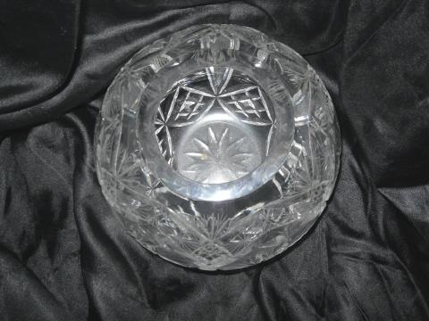 Vintage Large Crystal Rose Bowl