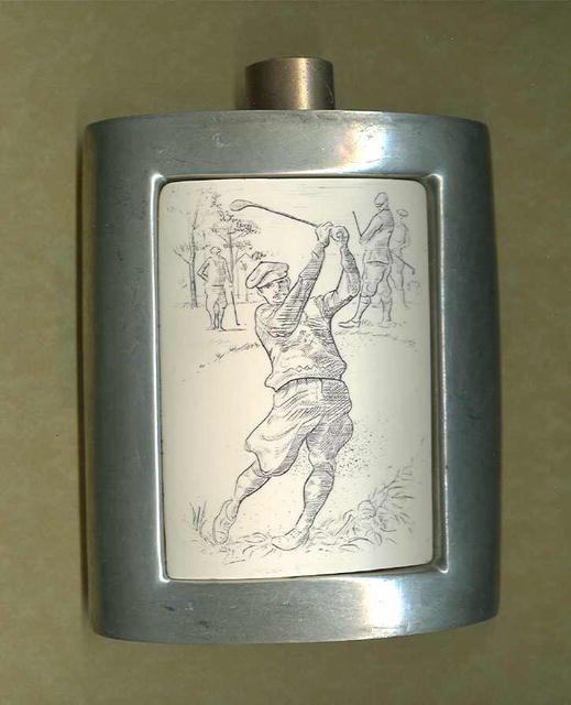Vintage Pewter Flask w/Golf