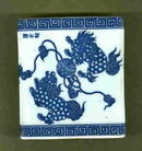 Antique Chinese Blue & White Foo Dog Porcelain Sensor   or Pipe Pillows  **LOOK**   **Signed by Artist**