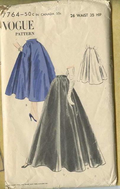 1952 Uncut Vogue Skirt Pattern