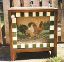 Wooden Cabinet w/Roosters & Chicken Wire