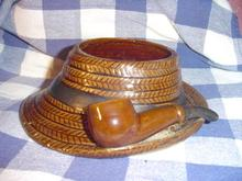 Brown Derby Hat with Pipe Planter