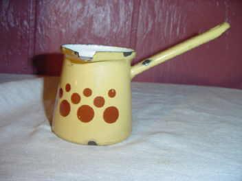 Vintage Enamelware Warming Potr w/Brown Polka Dots