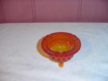 Vintage Footed Amberina Ashtray