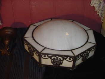 Vintage Panel Glass Light Fixture