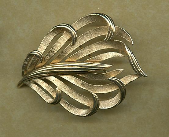 Vintage Crown Trifari Stylized Leaf Pin