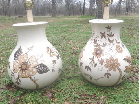 Vintage Large Ceramic Table Lamp Pair