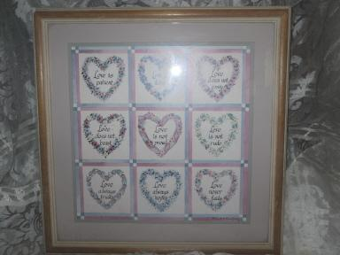 Homco Home Interior  Framed Hearts Picture