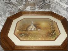 Vintage Homco Home Interior Country Church Picture