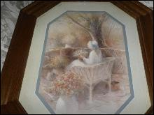 Vintage Homco Home Interior Lady w/Flowers Picture