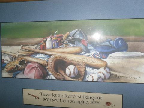 Baseball Equipment Picture w/Babe Ruth Quote