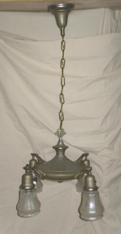 Antique 4 Light Chandelier  w/4 Art Glass Shades  *** LOOK!!  LOOK!!  LOOK***