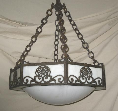 Antique Gravity Hook Light Fixture w/Leaded Glass Shade