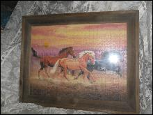 Large Rustic Picture Frame w/3 Horses Running