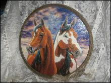 Large Horse Picture w/Lariat Rope Frame