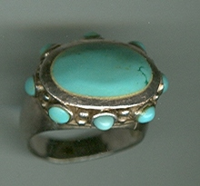 Unusual  Sterling & Turquoise Ring