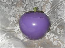 Vintage Metal Purple Plum Cookie Jar