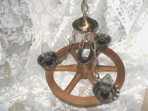 Vintage Wagon Wheel Light Fixture