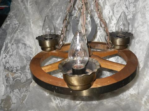 Vintage Wagon Wheel Light Fixture