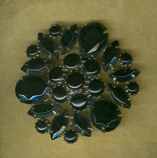 Vintage Black Glass Brooch
