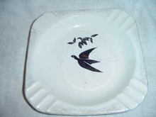 Large Vintage Black and White Ashtray