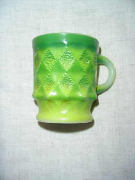 Vintage Fire King Green Kimberly Mug