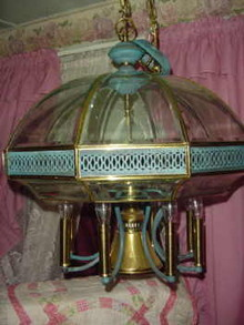 Beveled Glass Panel Electric Light Fixture  **LOOK**