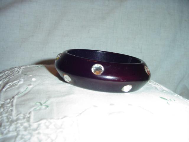 Deep Purple Bangle Bracelet w/Rhinestones