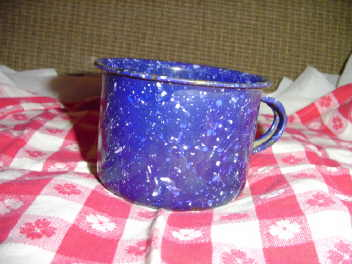 Antique Blue & White Graniteware Mug
