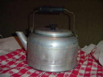 Old Aluminum Kettle w/Wood Handle