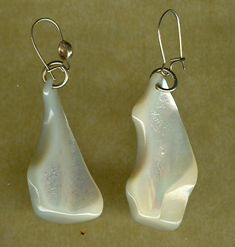 1960's RETRO Solid Mother of Pearl Drop Earrings