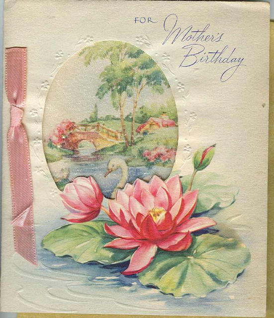 Vintage  Fancy Mother's Birthday Greeting Card