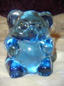 Vintage Fenton  Blue Glass Bear