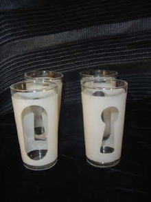 Vintage Retro Frosted Tumblers Set of 4