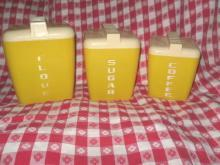 Vintage Yellow Canister Set