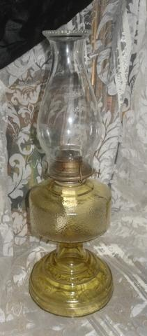 Vintage Yellow Glass Kerosene Lamp w/P.A. Eagle Burner