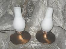 Electric Copper Lamps w/Glass Chimney  **Pair**