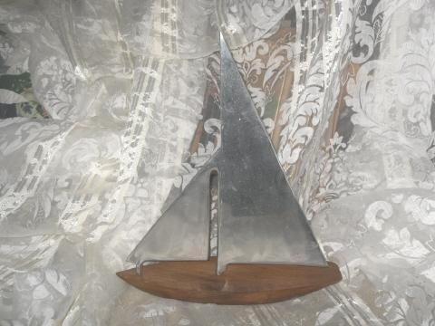 Hand Made Sail Boat Sculpture