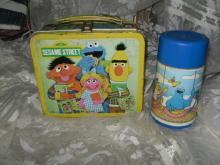 Vintage 1979 Metal Sesame Street Lunch Box w/Thermos