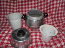 Vintage Cooking Pot  w/Porcelain Steam Inserts  **LOOK**