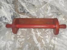 Vintage Red Wooden Rolling Pin & Wooden Towel Holder