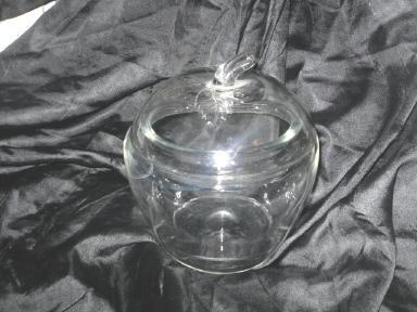 Vintage Glass Apple Covered Dish or Glass Apple Canister