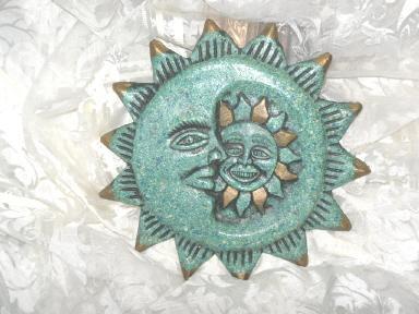 Vintage Mosaic Sun Moon & Stars Wall Sculpture