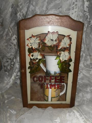 Wood & Stained Glass Coffee Mug Cabinet